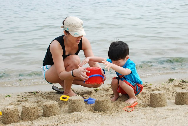 Building sandcastles at the beach, Pasir Ris Park.