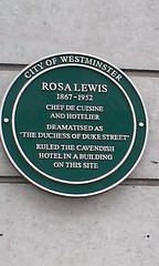 Photo of Rosa Lewis green plaque