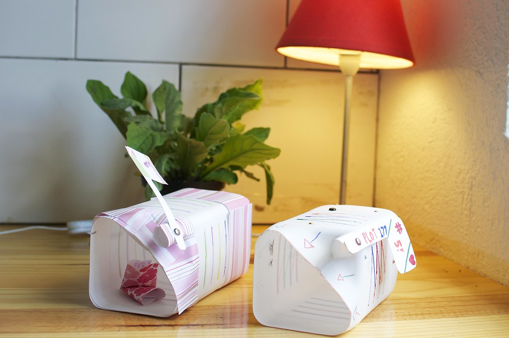 Valentine's mailboxes made out of milk jugs