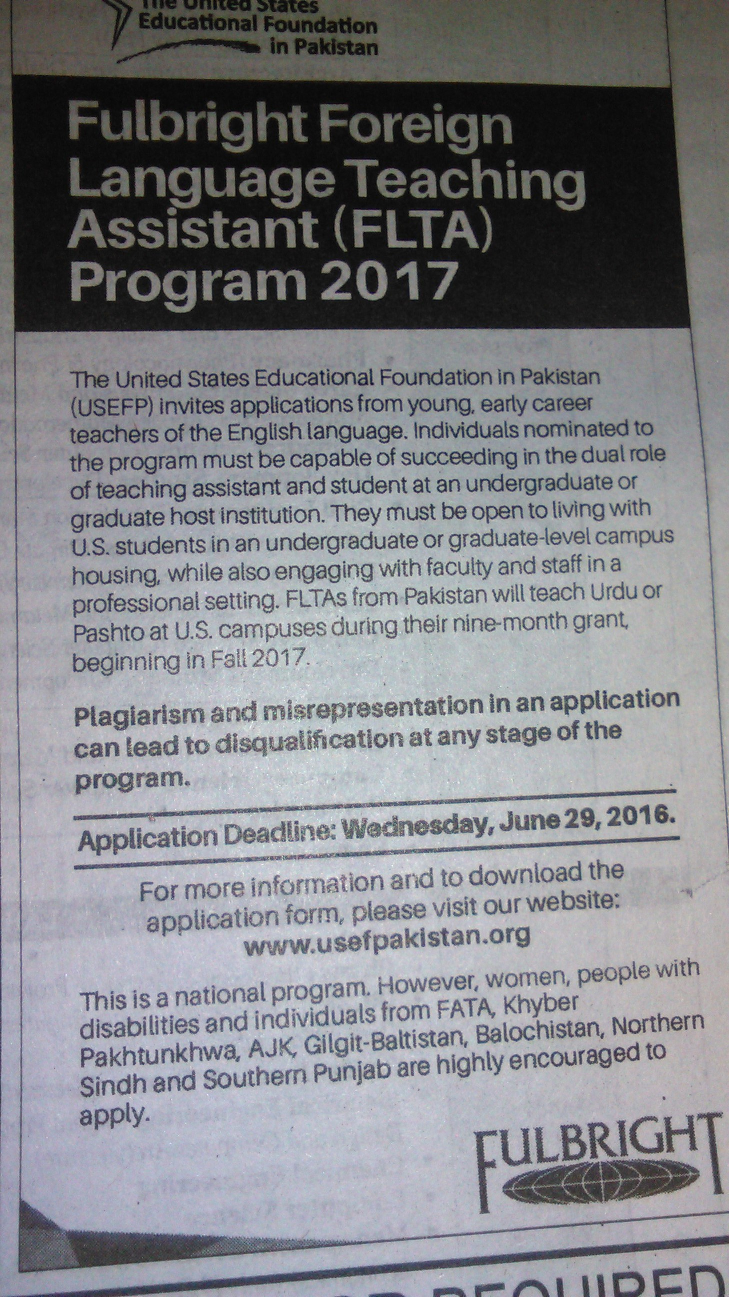 Fullbright Foreign Language Teaching Assistant Program