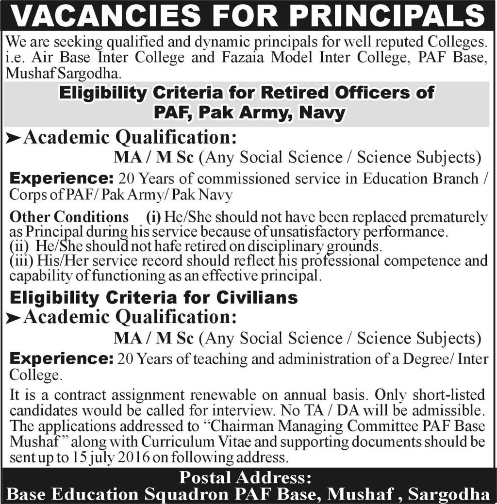 Principals Required for PAF Based Colleges