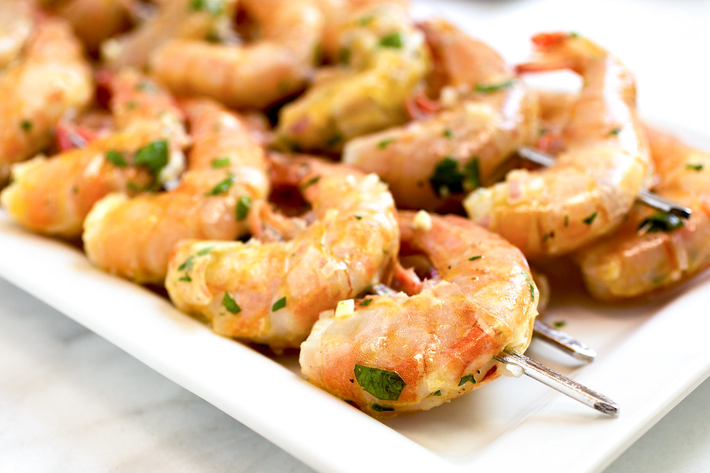 shrimp scampi ready to grill