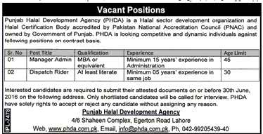 Punajb Halal Development Authority Jobs