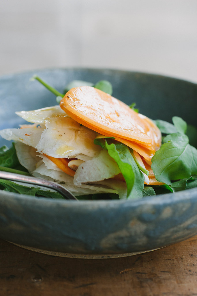 persimmon, fennel + rocket salad