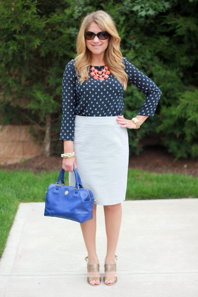 Nautical Outfit Idea:  Seersucker Pencil Skirt and anchor print top