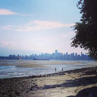 Vancouver from the (very, very cold) beach.