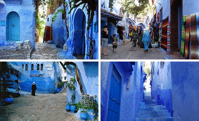 Escenas típicas de Chefchauen, con las casas pintadas de azul
