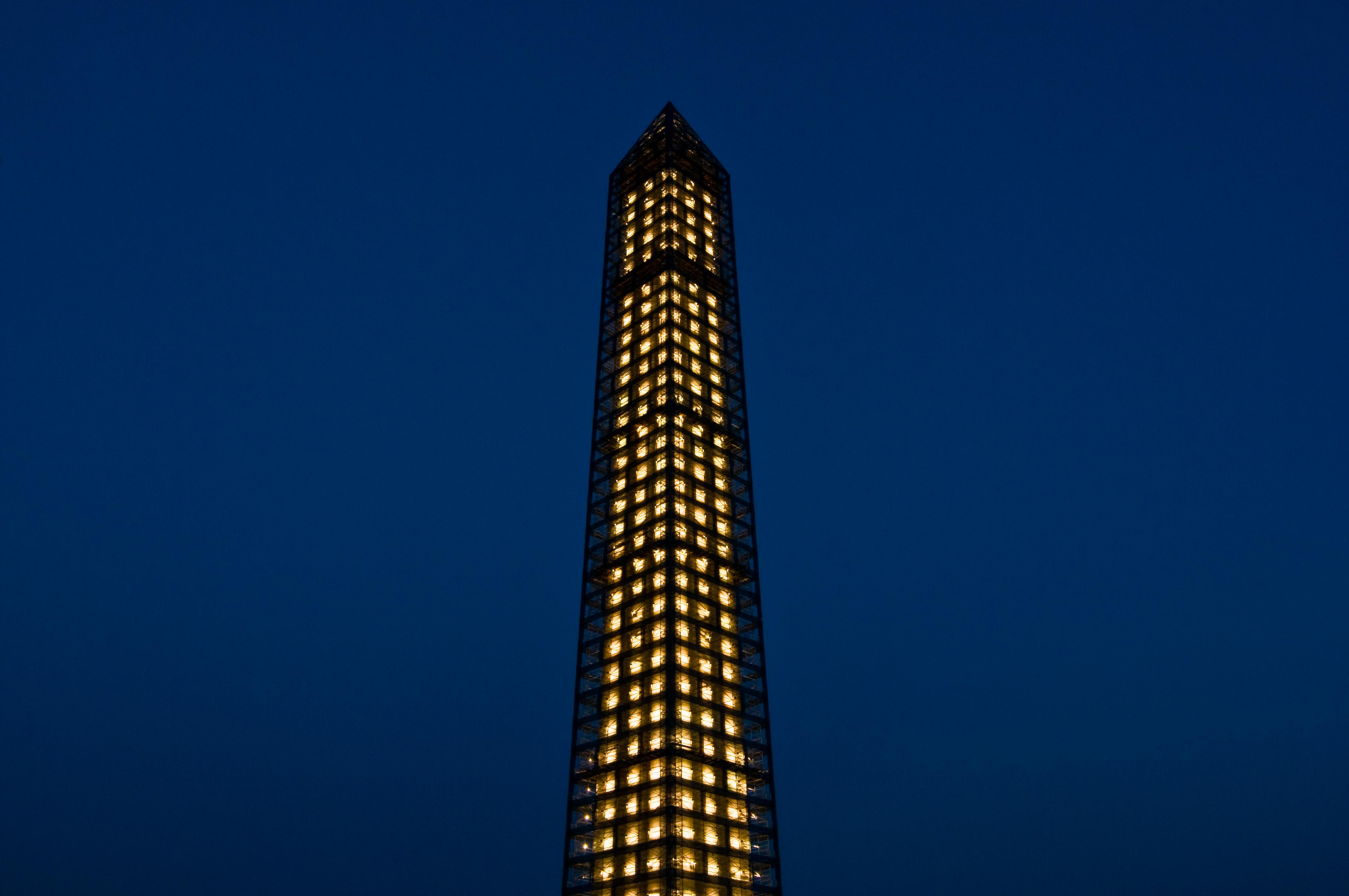 Washington Monument - Encased in Steel & Light - 07-16-13