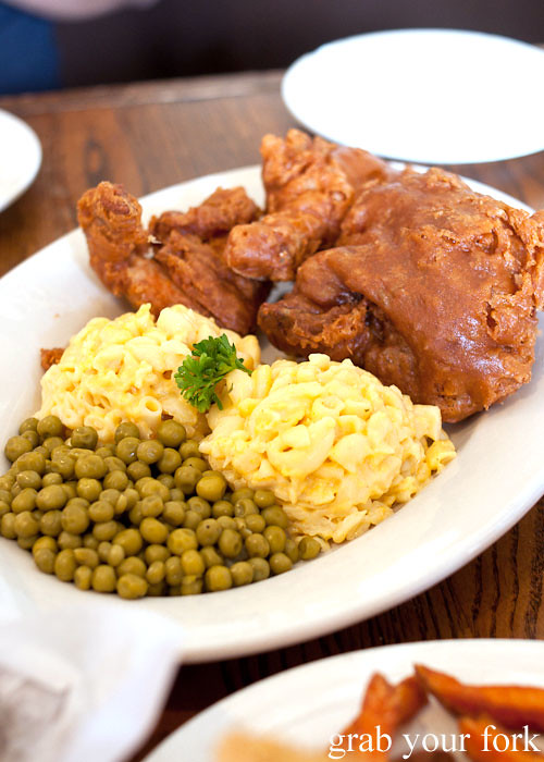 southern fried chicken macaroni and cheese and peas at willie mae's scotch house new orleans louisiana