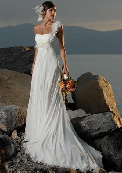 Avondjurken Le Couture.A Line Sweetheart Chapel Train Chiffon Beach Wedding Dresses