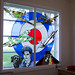 A window in the chapel at RAF Scampton showing 617 sqn