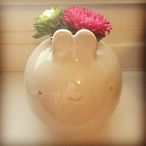 Bunny vase with asters