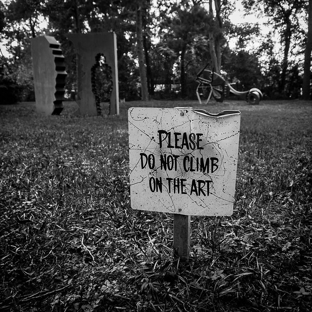 please do not climb on the art