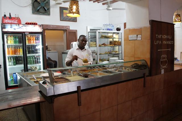 Inside Lukmaan restaurant in Stone Town, Zanzibar