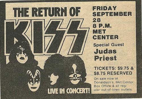 09/28/79 Kiss/ Judas Priest @ Met Center, Bloomington, MN (ad)