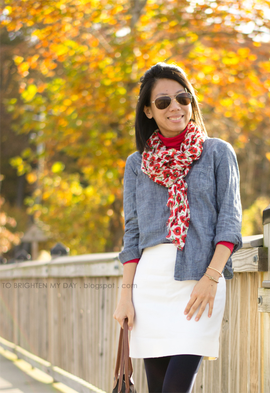 floral scarf, chambray shirt, white wool skirt