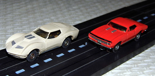 "Vintage Aurora Slot Cars, Corvette and Camaro, 1/87th Scale (H.O. Gauge), With the Fabulous ""Pancake"" Motors, Circa 1963"