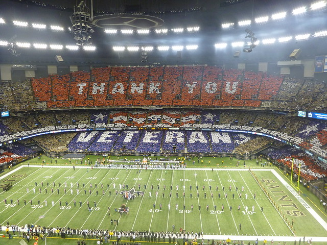 Thank You Veterans Card Stunt at New Orleans Superdome