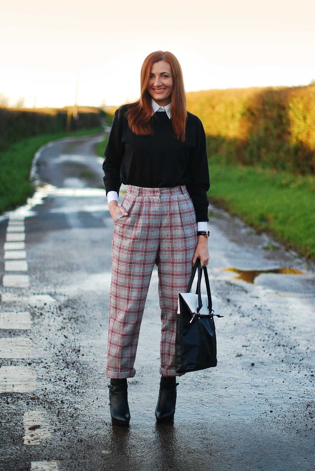 Black & white with grey tartan check