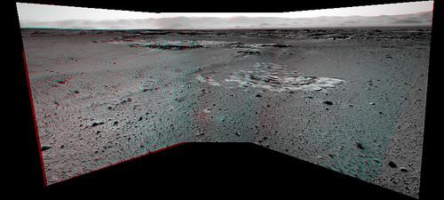 Curiosity sol 545 NavCam anglyph - Moonlight Valley