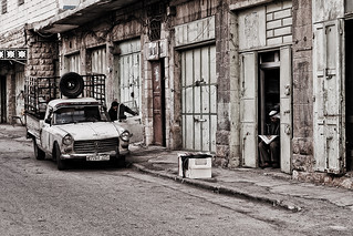 old car and the guy with the newspaper