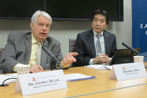 Dr. Stephen Blank (left) explained how a convergence of mutual needs and shared risks have spurred bilateral efforts for a Russo-Japan rapprochement as discussant Hirohisa Mori looks on.