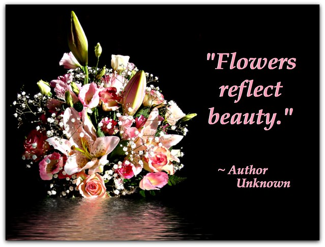 """Flowers reflect beauty."""