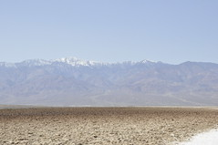 Snow-covered Panamint Mountain across Badwater Basin