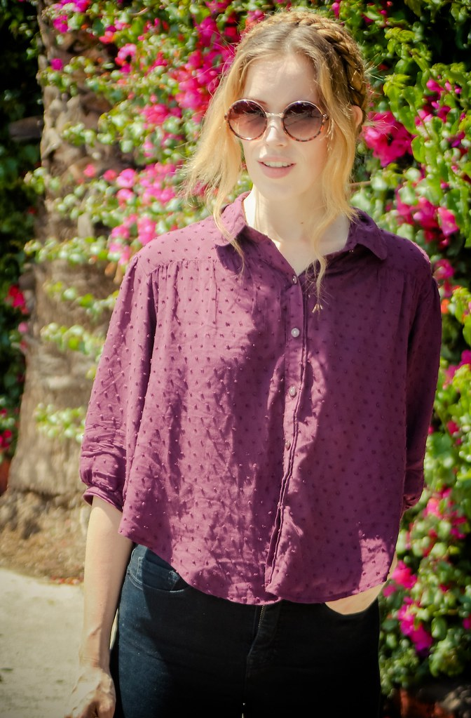 jennifer beile seeking style blog ootd outfit of the day daily outfit blog free people hautelook urban outfitters urban outfitters surplus store bdg high waist denim heidi braids circle sunglasses starbucks iced coffee style blog bloglovin style blog street style los angeles style spring style spring fashion purple blouse
