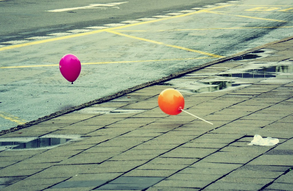 Balloons Going to Cross the Street
