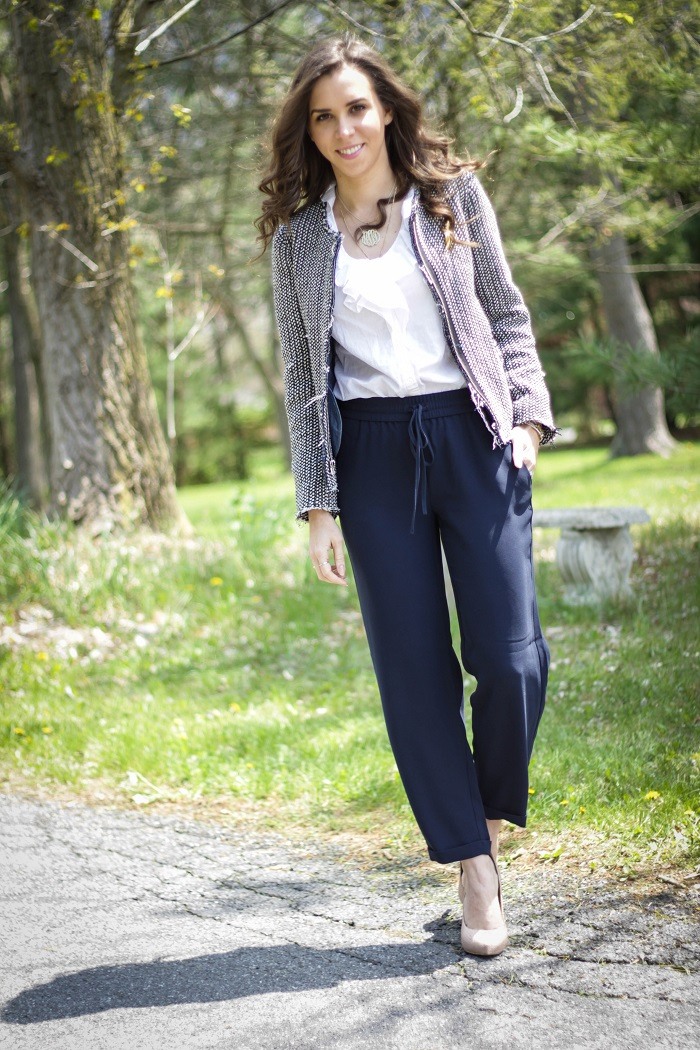 virginia blogger. style blogger. dc blogger.  fashion blogger. va darling. tweed gap jacket. jogger loose jcrew trouser pants. nude pumps. brooch. chic office style 3