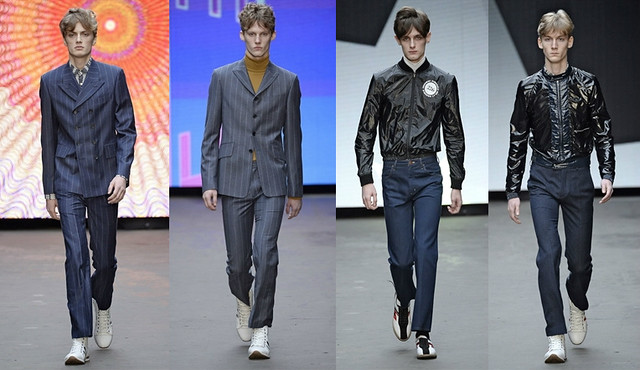 pinstripe-suit-shiny-leather-bomber-jacket,Seventies-inspired pieces, shearling coats and Dallas-style jackets, gingham suit