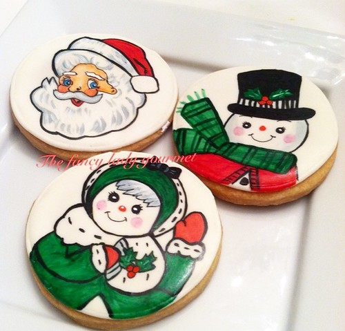 hand painted retro Christmas cookies