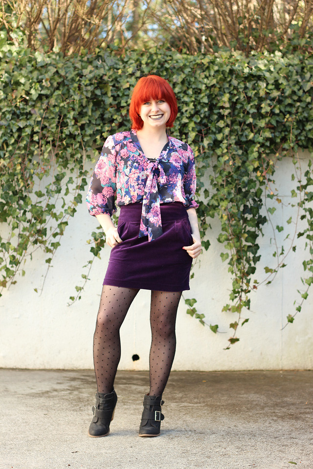 Purple Velvet Mini Skirt, Dotted Tights, Floral Print Blouse, and Black Ankle Boots