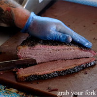 Smoked brisket at Vic's Meat at the Sydney Fish Market, Pyrmont