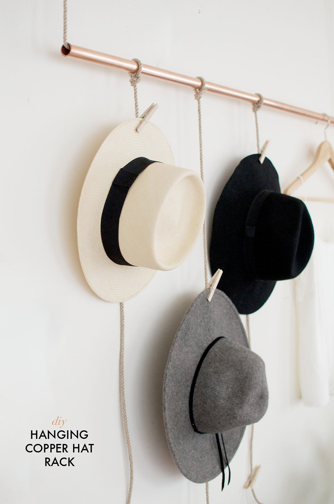 DIY Hanging Copper Hat Rack
