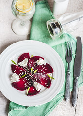 roasted beet salad with goat cheese and sesame see…