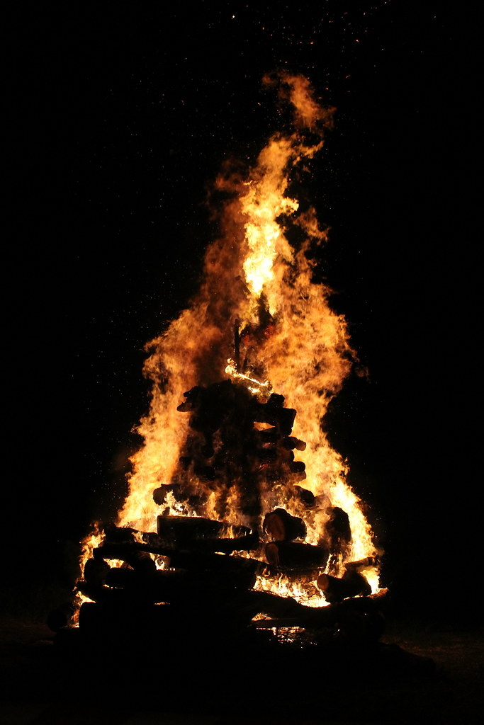 The witch engulfed in the flames
