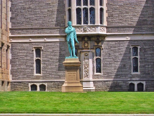 hartford connecticut conn ct wadsworth atheneum museum art exterior nathan hale first american hero onasill historic nrhp romanesque architecture style bronze statue