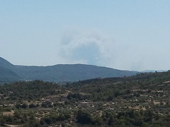 Ο καπνός της φωτιάς στην Απολακκιά όπως φαίνεται από την Ψίνθο