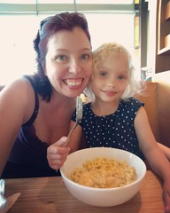 Celebrating National Mac & Cheese Day yesterday with my favorite four-year-old. I got a salad and she got free mac and cheese!