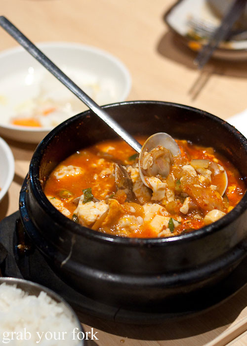 soft tofu with seafood and vegetable stew at red pepper, strathfield sports club bistro