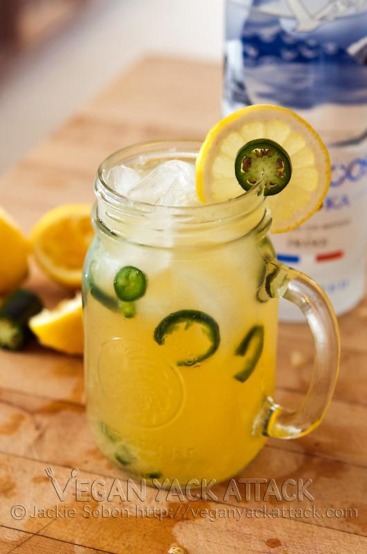 Spicy Vodka Lemonade with fresh ingredients + jalapeños!
