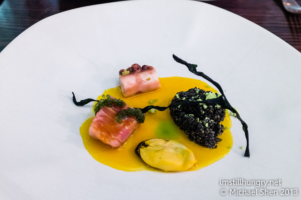 Bentley's Tuna, pickled mussels & octopus w/squid ink quinoa & sea grapes