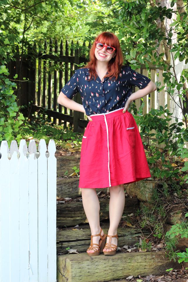 Sailboat Print Shirt, Red Linen Skirt, Wedge Sandals
