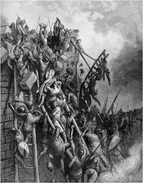 10. El asalto a las murallas de la fortaleza. De la obra Las Cruzadas. Gustavo Doré (1832-1883)