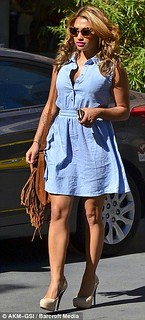 Vanessa White Denim Dress Celebrity Style Women's Fashion