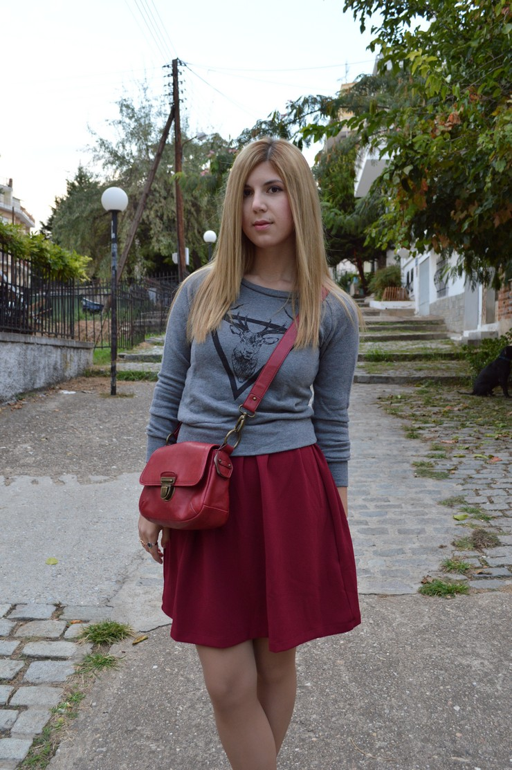burgundy dress grey sweater14