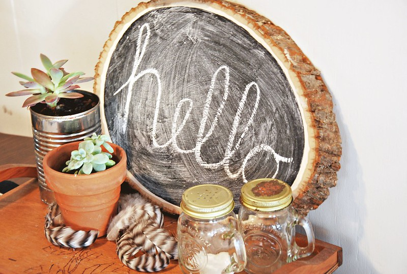 DIY wood slice chalkboard