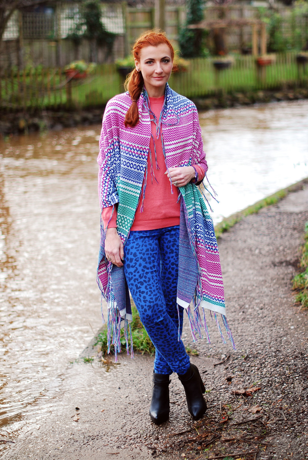 Multicoloured shawl, coral sweater & blue leopard print skinnies